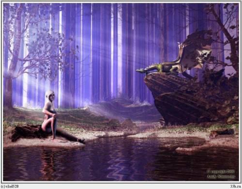 Девушка озеро лес дракон